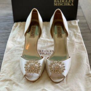 Badgley Mischka - Lacie - White Satin Heels